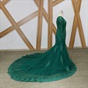 Emerald Green V Neck Long Sleeve Beaded Prom Dress With Sweep Train