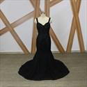 Black V Neck Sleeveless Rhinestone Chiffon Prom Dress With Train