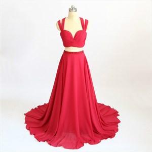 Red Pleated Chiffon Cross Strap Beaded Peplum Two Piece Prom Dress