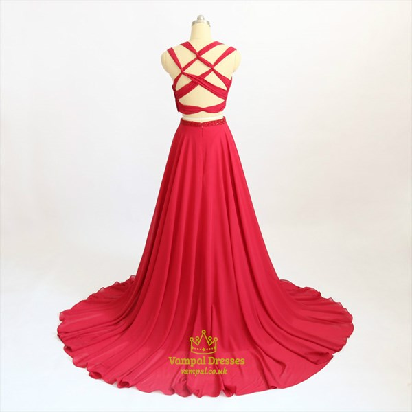 Red Pleated Chiffon Cross Strap Beaded Peplum Two Piece Prom Dress