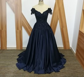 A Line Navy Blue V Neck Cap Sleeve Beaded Applique Satin Prom Dress