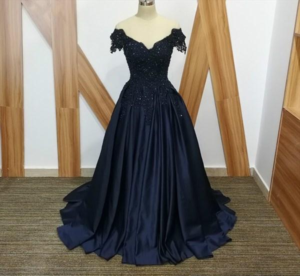 A Line Navy Blue V Neck Cap Sleeve Beaded Applique Satin Prom Dress