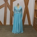 Light Blue Long Sleeve Beaded V Neck Keyhole Back Chiffon Prom Dress