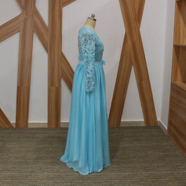 Light Blue Long Sleeve Beaded V Neck Keyhole Back Chiffon Prom Dress