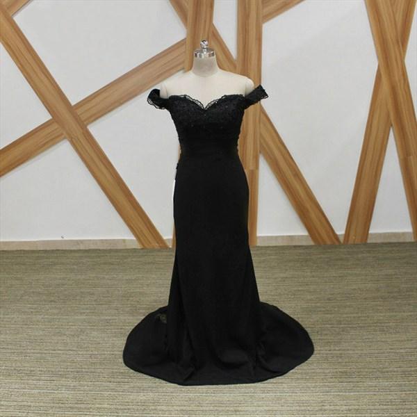Black Off The Shoulder Cap Sleeve Beaded Applique Sheath Prom Dress