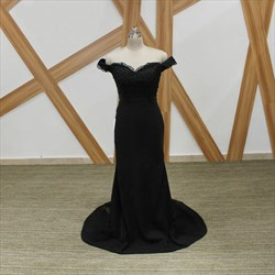 Black Off The Shoulder Cap Sleeve Beaded Applique Sheath Prom Dress