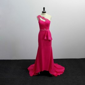 Fuchsia One Shoulder Beaded Sheath Satin Prom Dress With Train