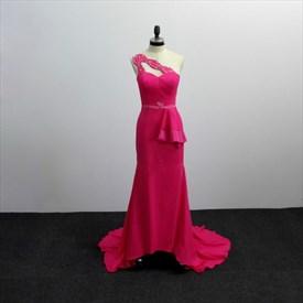Fuchsia One Shoulder Beaded Sheath Satin Prom Dress With Train