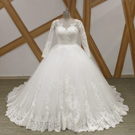 Bateau Long Sleeve Lace Applique Keyhole Back Ball Gown Wedding Dress