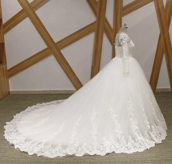 Bateau Long Sleeve Lace Applique Keyhole Back Ball Gown Wedding Dress