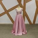 Pink A Line Crystal Beaded Cap Sleeve V Neck V Back Satin Prom Dress