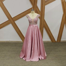 Pink A Line Crystal Beaded Cap Sleeve V Neck V Back Satin Prom Dress