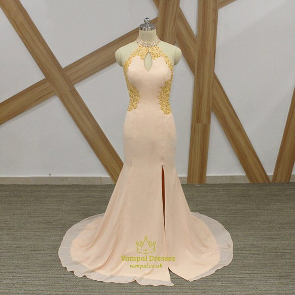 Champagne Halter Neck Beaded Open Back Mermaid Prom Dress With Split
