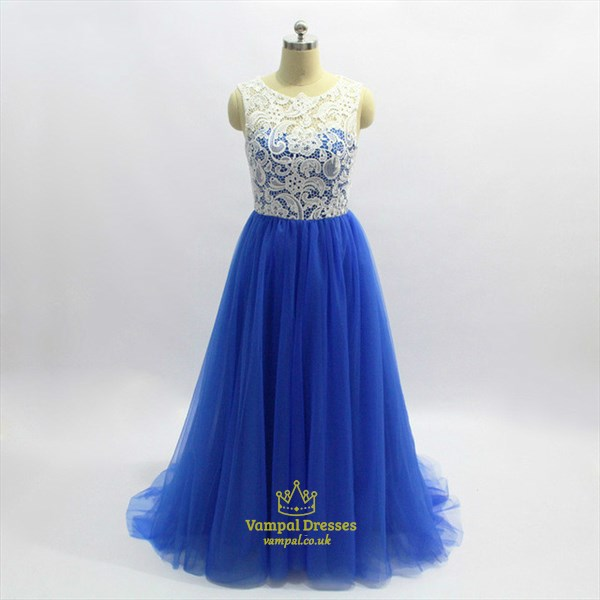 A Line Royal Blue Jewel Neck Sleeveless Pleated Tulle Prom Dress