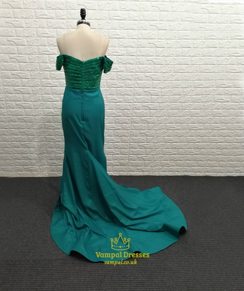 Emerald Green Off The Shoulder Cap Sleeve Pleated Mermaid Prom Dress