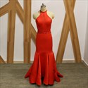 Red Halter Neck Sleeveless Beaded Backless Pleated Sheath Prom Dress