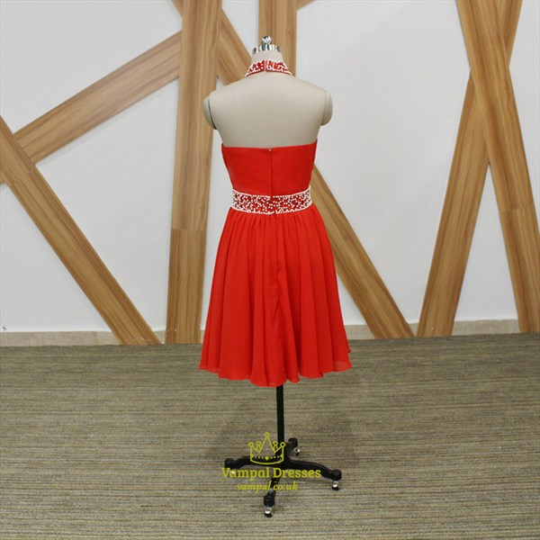 Red Halter Neck Sleeveless Beaded Pleated A Line Chiffon Short Dress