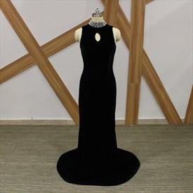 Black High Neck Beaded Keyhole Sleeveless Sheath Velvet Prom Dress
