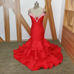 Spaghetti Strap Beaded Illusion Back Prom Dress With Tiered Ruffle