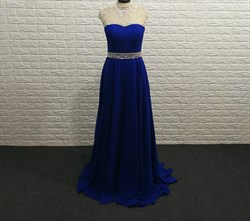 Elegant Royal Blue High Neck Cap Sleeve Beaded Chiffon Prom Dress