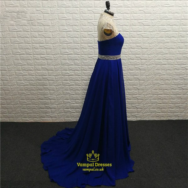 Elegant Royal Blue High Neck Cap Sleeve Beaded Chiffon Prom Dress