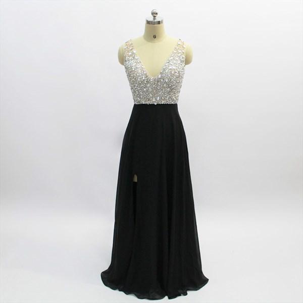 A Line Black V Neck Crystal Beaded Long Chiffon Prom Dress With Split