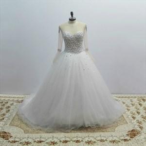 White Jewel Long Sleeve Beaded Keyhole Tulle Wedding Dress With Train