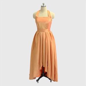 Simple A Line Orange Halter Neck Pleated High Low Taffeta Prom Dress