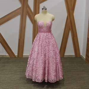 Glamorous Pink A Line Illusion Neckline Beaded Sheer Back Lace Dress