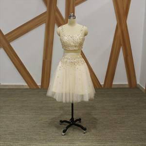 Champagne A Line Spaghetti Strap Crystal Tulle Two Piece Prom Dress