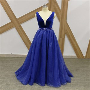 Simple A Line Royal Blue V Neck Sleeveless Beaded Organza Prom Dress