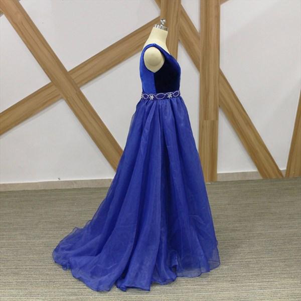 Simple A Line Royal Blue V Neck Sleeveless Beaded Organza Prom Dress