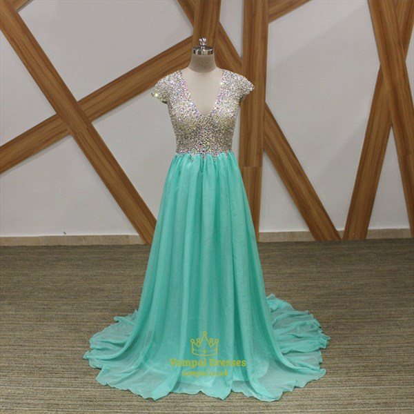 A Line Mint Green V Neck Cap Sleeve Beaded Keyhole Chiffon Prom Dress