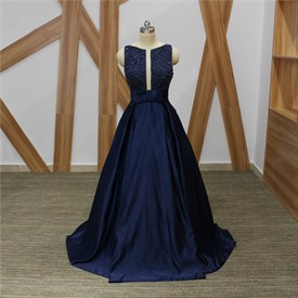 Elegant Navy Blue Bateau Neck Sleeveless Beaded Long Satin Prom Dress