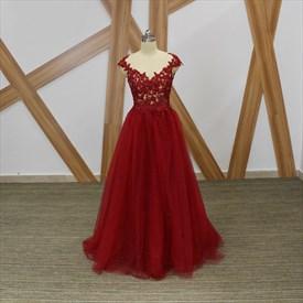 Burgundy Bateau Cap Sleeve Beaded Applique Open Back Tulle Prom Dress