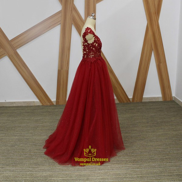 Burgundy Bateau Cap Sleeve Beaded Applique Open Back Tulle Prom Dress