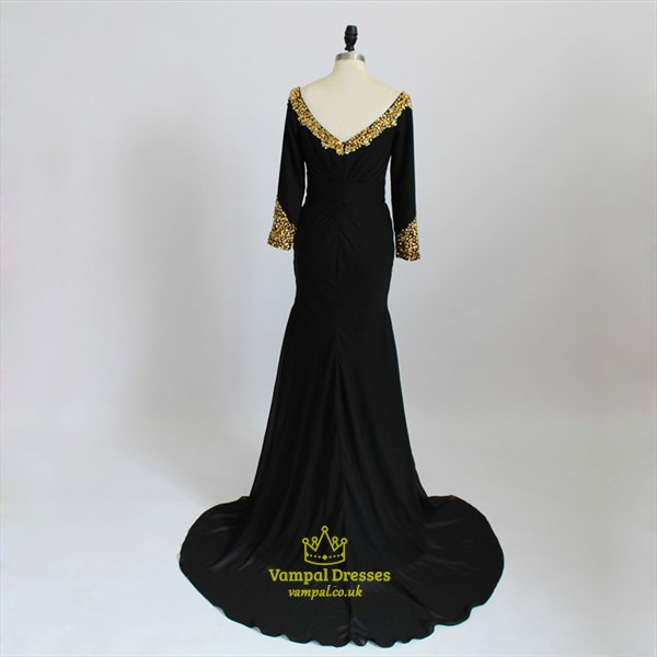 Black Long Sleeve Gold Beading Ruched Mermaid Prom Dress With Split