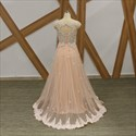 Pink Cap Sleeve Keyhole Beaded Lace-Applique Prom Dress With Flowers