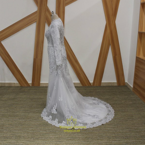 Grey High Neck Long Sleeve Lace Applique Beaded Sheath Prom Dress