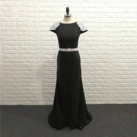 Elegant Black Bateau Neck Cap Sleeve Beaded Sheath Chiffon Prom Dress
