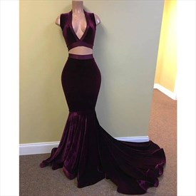Purple V Neck Sleeveless Mermaid Two Piece Long Prom Dress With Train