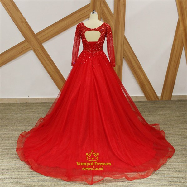A Line Red Long Sleeve Beaded Keyhole Back Tulle Prom Dress With Bow