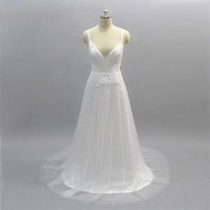 Simple A Line White V Neck Cross Back Lace Applique Prom Dresses