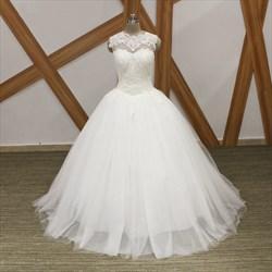 High Neck Sleeveless Beaded Applique Keyhole Tulle Wedding Dress