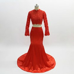 Red High Neck Long Sleeve Mermaid Lace Top Satin Two Piece Prom Dress