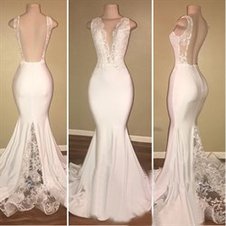 Ivory Deep V Neck Open Back Lace Applique Sheath Mermaid Prom Dress