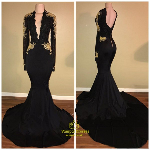 Black Long Sleeve Mermaid Prom Dress With Gold Applique And Train