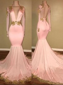 Pink Deep V Neck Gold Lace Applique Mermaid Prom Dress With Train