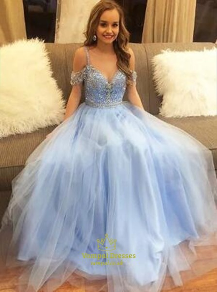 Light Blue Sweetheart Cap Sleeve Beaded Floor Length Tulle Prom Dress