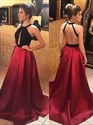 Red Halter Neck Sleeveless Keyhole Floor Length Satin Prom Dress